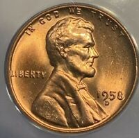 1958 D MINT STATE 67 LINCOLN WHEAT CENT ANACS GRADED BU CERTIFIED GEM BRIGHT RED PENNY