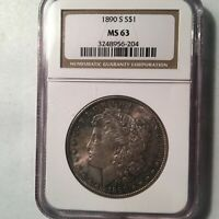1890-S MORGAN SILVER DOLLAR NGC MINT STATE 63