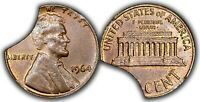 1964 CENT UNC BROWN   ERROR   15  INCOMPLETE PLANCHET    TRIPLE CURVED CLIPS