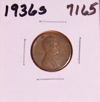 1936 S LINCOLN WHEAT CENT 7165, EXTRA FINE-NATURAL PATINA-SHIPS FREE