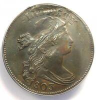 1803 DRAPED BUST LARGE CENT 1C    CERTIFIED ANACS XF45 DETAILS    COIN