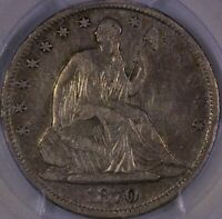 1870 S SEATED LIBERTY HALF DOLLAR PCGS XF 40 TOUGH DATE