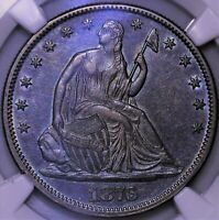 1876 CC SEATED LIBERTY HALF DOLLAR NGC AU 55 NICELY TONED