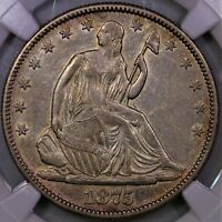 1875 SEATED LIBERTY HALF DOLLAR NGC XF 45