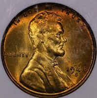 1948 S LINCOLN CENT MS 67 RED OLD ANACS HOLDER NICER PERIPHERAL TONING