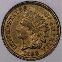 1863 INDIAN CENT AU 58 OLD ANACS