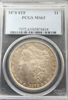 1878 8 TF MORGAN SILVER DOLLAR  VAM 14.1 ALLIGATOR EYE PCGS MINT STATE 63 SHARP