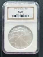 2006 W  NGC MS 69  BURNISHED AMERICAN SILVER EAGLE