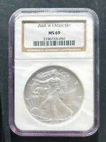 2008 W  NGC MS 69  BURNISHED AMERICAN SILVER EAGLE