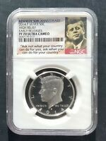 2014 P NGC SP70  EARLY RELEASE SILVER KENNEDY HALF 50TH ANNIVERSARY HIGH RELIEF