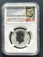 2014 W NGC PF 70 ER REVERSE PROOF SILVER KENNEDY HALF 50TH ANNIVERSARY