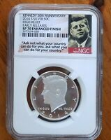 2014 S NGC SP 70 ER ENHANCED FINISH SILVER KENNEDY HALF 50TH ANNIVERSARY