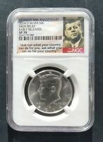 2014 D NGC SP 70 ER HIGH RELIEF SILVER KENNEDY HALF 50TH ANNIVERSARY
