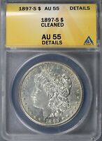 1897-S $1 MORGAN DOLLAR ANACS AU55 DETAILS CLEANED