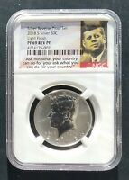 2018 S NGC PF69 LIGHT FINISH REVERSE PROOF  KENNEDY SILVER HALF DOLLAR