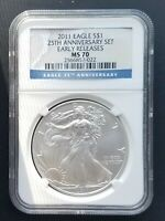 2011 NGC MS 70 ER  AMERICAN SILVER EAGLE FROM 25TH ANNIVERSARY SET