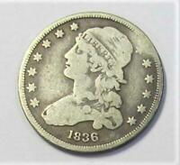 1836 U.S. QUARTER DOLLAR   CAPPED BUST   CIRCULATED   MINTAG
