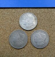 3 MORGAN SILVER DOLLARS 1921-P  1921-D  1921-S  A COMPLETE SET OF FINAL YEAR