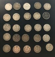 CANADA  LOT OF 25  10 CENT SILVER COINS:   GEORGE V MIXED YE