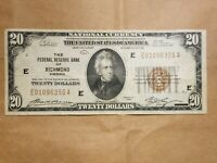 1929 $20 FEDERAL RESERVE BANK NOTE RICHMOND FRBN NATIONAL FR 1870 E FINE