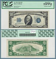 1934 $10 SILVER CERTIFICATE PCGS 53 PPQ ABOUT UNC NEW AU TEN DOLLARS BANK NOTE