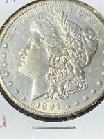 1891-S MORGAN SILVER DOLLAR - BU - KEY DATE WOW