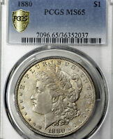 1880-P MINT STATE 65 MORGAN SILVER DOLLAR $1, PCGS GRADED, SOME TONING