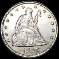 1875 CC SEATED LIBERTY 20 CENTS SILVER CARSON CITY COIN.  LO