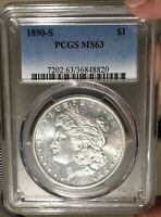 1890-S MORGAN SILVER DOLLAR PCGS MINT STATE 63 - BETTER DATE   8-7ALM