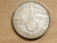 1938 A NAZI GERMANY 2 REICHSMARK SILVER MARK GERMAN COIN WWII SWASTIKA WAR RELIC