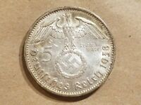 1938 A NAZI GERMANY 5 REICHSMARK SILVER MARK GERMAN COIN WWII SWASTIKA WAR RELIC