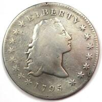 1795 FLOWING HAIR SILVER DOLLAR $1 - VG DETAILS -  EARLY COIN