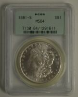 1881-S PCGS MINT STATE 64 S$1 MORGAN SILVER DOLLAR OGH, OLD GREEN HOLDER