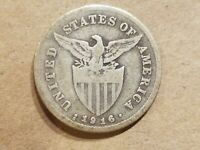 1916 S PHILIPPINES 20 CENTAVOS SILVER COIN AMERICAN ADMINISTRATION