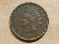 1880 INDIAN HEAD CENT PENNY COIN FULL LIBERTY FINE DETAILS