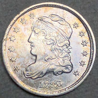 1836 LARGE 5 CAPPED BUST HALF DIME H10C -  FINE EXTRA FINE  CONDITION