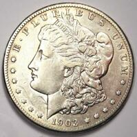 1903-S MORGAN SILVER DOLLAR $1 COIN - EXTRA FINE  / AU DETAILS -  DATE THIS SHARP