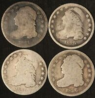 LOT OF 4 US CAPPED BUST DIMES - 1831/1835 X2/1836 - SHIPS FREE USA