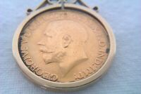 9CT GOLD MOUNTED 22CT GOLD FULL SOVEREIGN PENDANT  E.FINE 19