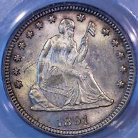 1891 P SEATED LIBERTY QUARTER MS 63 PCGS BOOMING LUSTER