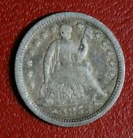 1853 V3 SEATED LIBERTY HALF DIME COIN VERY OLD 90  SILVER P