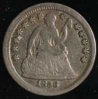 1856 H10C SEATED LIBERTY HALF DIME COIN