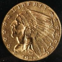 1929 GOLD INDIAN HEAD 2 1/2 DOLLAR $2.5 QUARTER EAGLE COIN