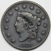 1830 CORONET HEAD LARGE CENT LARGE LETTERS VF DETAIL