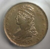 1837  CAPPED BUST SILVER  HALF DOLLAR  REEDED EDGE   ICG MINT STATE 60  DETAILS