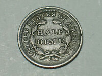 1855 P OFFSET STRIKE N ROTATED REVERSE ERROR SILVER SEATED LIBERTY HALF DIME