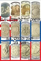 SLOVAKIA COINS 11X SET 2 EURO ALL COMMEMORATIVE FROM 2009 TO 2018 NEW UNC