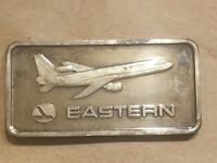 1975 EASTERN AIRLINES 1 OUNCE SILVER ART BAR ONE OZ .999 FINE AIRPLANE