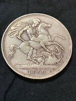 1889  GREAT BRITAIN ONE FULL CROWN VF SILVER COIN  KM 765