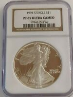 1991-S PROOF SILVER EAGLE NGC CERTIFIED PF 69 ULTRA CAMEO